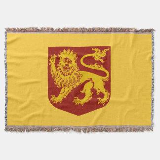 赤い盾の紋章学の金ライオン スローブランケット