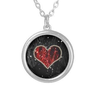 赤い真珠のハート シルバープレートネックレス
