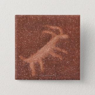 赤い砂岩の壁のカモシカの絵画図表、 5.1CM 正方形バッジ