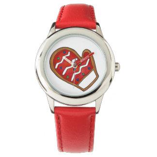 赤い砂糖クッキーのミトンの冬のクリスマスの腕時計 腕時計