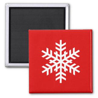赤い磁石のクリスマスの白い雪片 マグネット