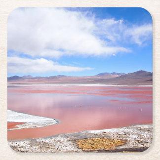 赤い礁湖、ボリビアのコースターのラグナColorada スクエアペーパーコースター