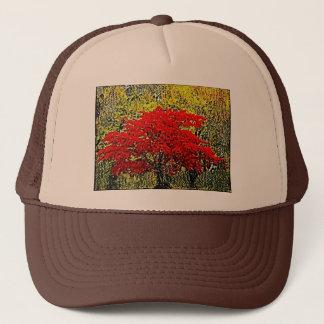 赤い秋の絵画の芸術の帽子 キャップ