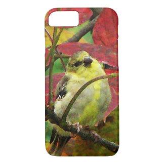赤い秋のiPhone 7の箱の黄色いGoldfinchの鳥 iPhone 8/7ケース