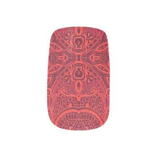 赤い種族のダマスク織パターン ネイルアート