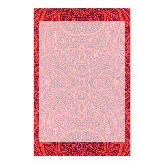 赤い種族のダマスク織パターン 便箋