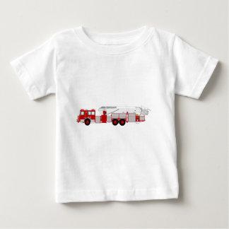 赤い空気の規模のカスタムな普通消防車のデザイン ベビーTシャツ