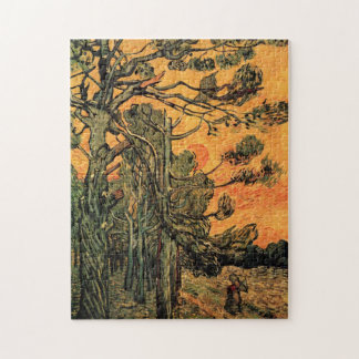 赤い空wの落日に対するゴッホの松の木 ジグソーパズル