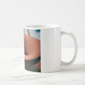 赤い粘土陶器の写真撮影 コーヒーマグカップ