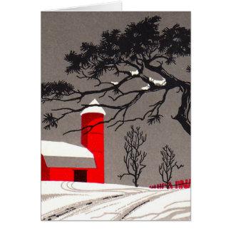 赤い納屋およびサイロの雪で覆われた黒い木 カード