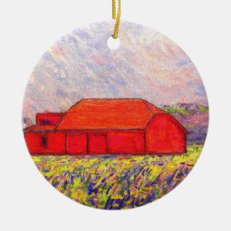 赤い納屋および野生の紫色のアイリス セラミックオーナメント