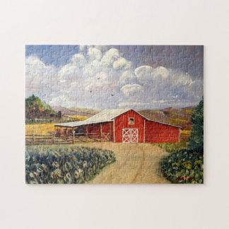 赤い納屋のウェストヴァージニアの農場のファインアートの絵画 ジグソーパズル