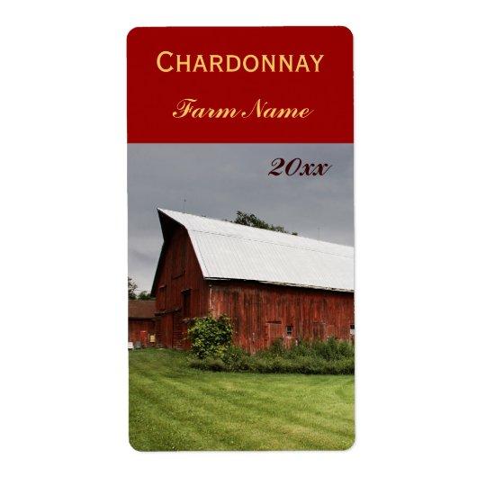 赤い納屋のワイン・ボトルのラベルとの国の景色 発送ラベル