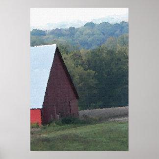 赤い納屋の秋の木 ポスター