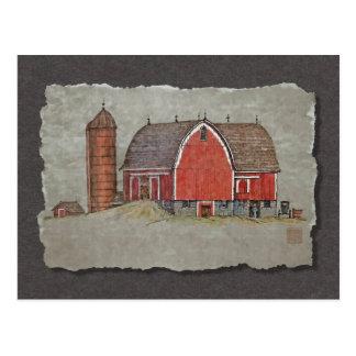赤い納屋及びサイロ ポストカード