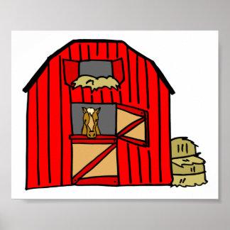 赤い納屋場面ウマ科のな農場 ポスター