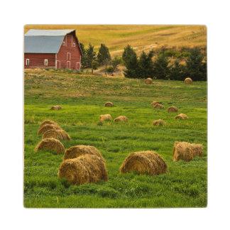 赤い納屋、干し草ベール、AlbionのPalouse区域2 ウッドコースター