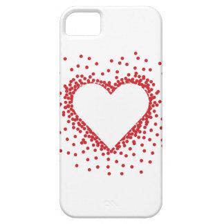赤い紙吹雪のハートのiPhone 5の箱 iPhone SE/5/5s ケース