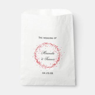 赤い紙吹雪の結婚式の引き出物のバッグ フェイバーバッグ