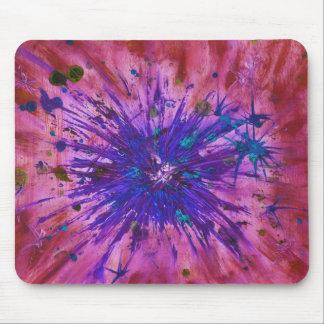 赤い紫色のブルースターの抽象美術のアクリルの絵画 マウスパッド