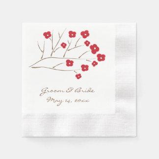 赤い結婚式の桜 縁ありカクテルナプキン