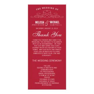 赤い結婚式プログラム%PIPE%のヴィンテージの優雅 ラックカード