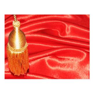 赤い絹の背景 ポストカード