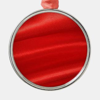 赤い絹の背景 メタルオーナメント