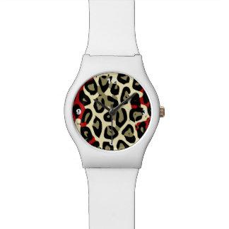 赤い緑のカムフラージュのチータの抽象芸術 腕時計