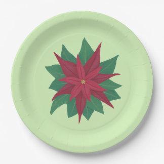 赤い緑のクリスマスのポインセチアの紙皿 ペーパープレート