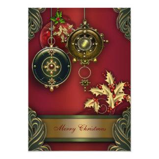 赤い緑のクリスマスの休日のパーティ カード
