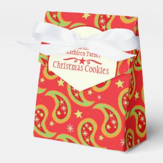 赤い緑のクリスマスの星のペイズリーのクッキーのギフト用の箱 フェイバーボックス