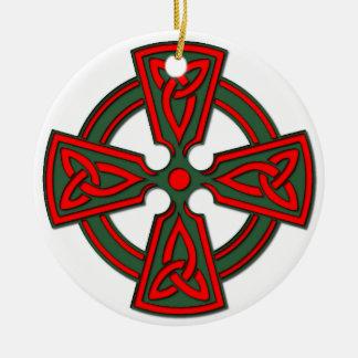 赤い緑のケルト十字のブルターニュのオーナメント セラミックオーナメント