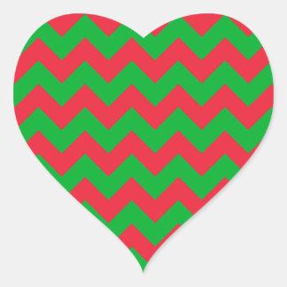 赤い緑のシェブロン ハートシール