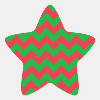 赤い緑のシェブロン 星シール