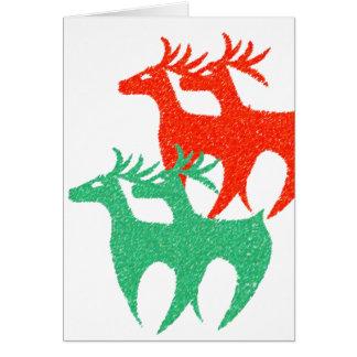 赤い緑のトナカイのクリスマスカード カード