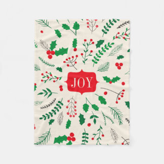 赤い緑のヒイラギの喜びのクリスマスパターン フリースブランケット