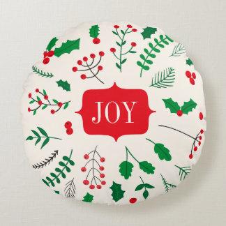 赤い緑のヒイラギの喜びのクリスマスパターン ラウンドクッション