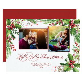 赤い緑のヒイラギの水彩画2 2つの写真のクリスマス カード