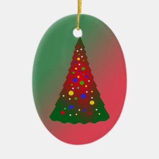 赤い緑のメリークリスマスの木 セラミックオーナメント