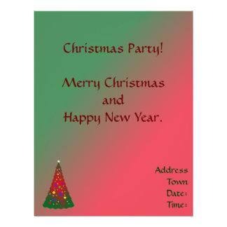 赤い緑のメリークリスマスの木 チラシ