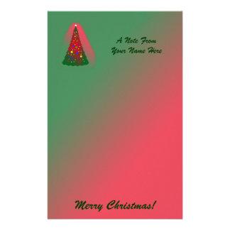 赤い緑のメリークリスマスの木 便箋