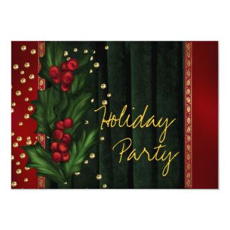 赤い緑の企業のな休日のパーティ 12.7 X 17.8 インビテーションカード