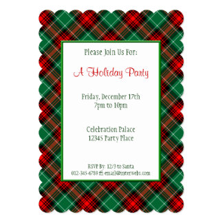 赤い緑の休日のレトロの格子縞のカスタムの招待状 カード