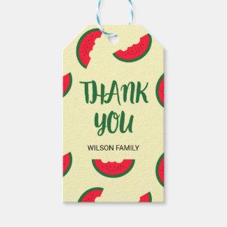 赤い緑の甘いスイカは感謝していしています ギフトタグ
