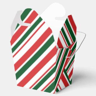 赤い緑の白いキャンデーは縞で飾ります フェイバーボックス