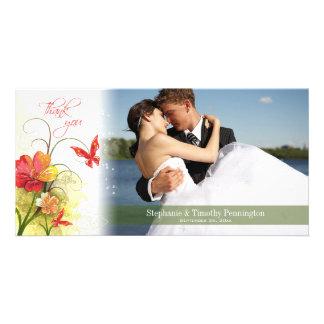 赤い緑の花 + 蝶結婚式は感謝していしています カード