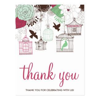 赤い緑の鳥かごの花柄は郵便はがき感謝していしています ポストカード