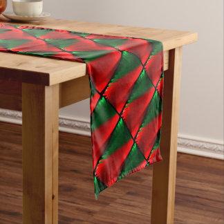 赤い緑パターン ショートテーブルランナー