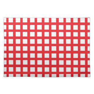 赤い織り方の白のランチョンマット ランチョンマット